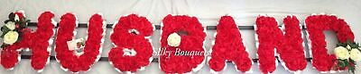 Husband Artificial Silk Funeral Tribute Flower 7 Letter Wreath Brother Grandad