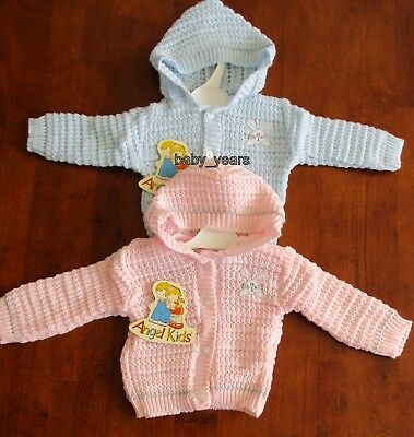 Baby Hooded Knitted Cardigan Boys Girls Pink Blue Bunny 0-3 3-6 Months New