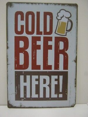 Cold Beer Here Retro-Style Tin / Metal Sign - New & Mint Bar Mancave Kitchen