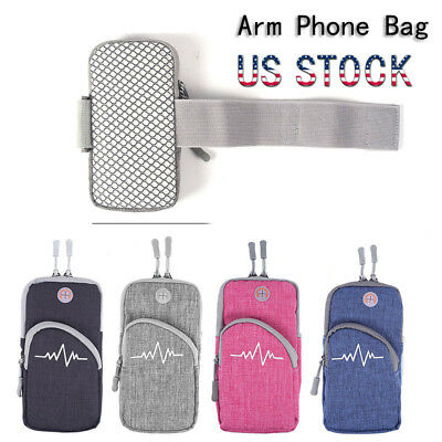 Outdoor Sports  Running Waterproof Zippered Phone Armband Bag Pouch Case Holder