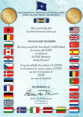 Op Herrick 15 - Certificate For The Award Of The Non-Article 5 Nato Medal