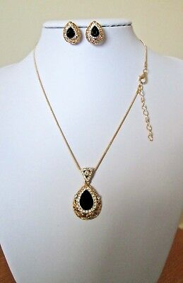Fashion Women's Crystal Gold Plated Necklace Earrings  Black Gem Drop
