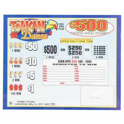 """""""Toucan Dance""""  5 Window Pull Tab  1800 Tickets Payout  $675"""