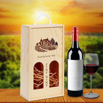 Wooden Wine Box or champagne double bottle natural pine wood Sliding seal
