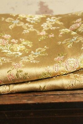 """Vintage Gold Brocade Fabric Embroidered Silken c.1950 Floral Woven 11"""" x 26"""""""