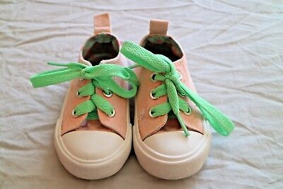 ♡  Girls Baby  Pink Trainers Mint Lacers Young Dimension Size 4 Uk   ♡