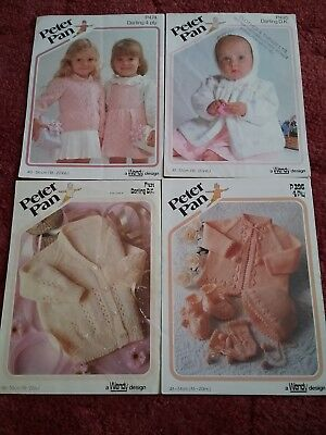 Joblot Of 4 Vintage Knitting Patterns For Baby Clothes 099