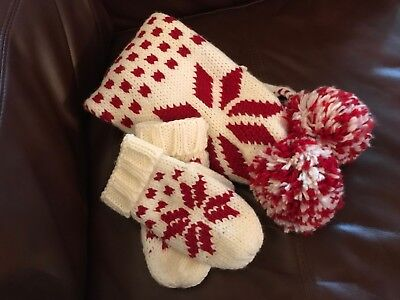 Fairisle style cream scarf and mittens set with red snowflake pattern