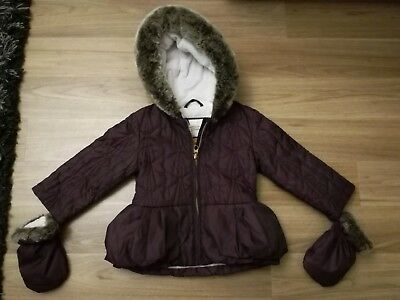 Ted Baker Baby Girls Purple Coat With Mittens 12-18 Months 1-1 1/2 Years Floral