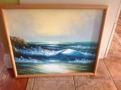 Vintage estate H. Gailey oil painting seascape ocean gorgeous colors signed