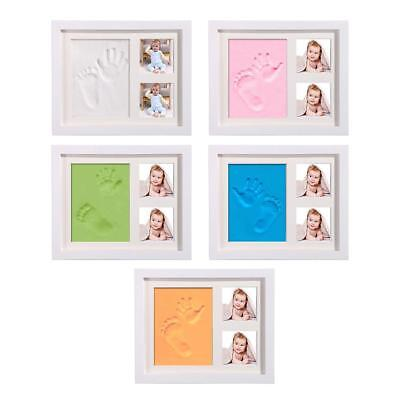 Baby Ink Print Wood Wooden Photo Picture Frame Hand / Foot Print Clay  2 Photo