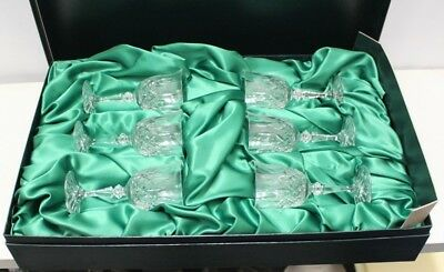 Set of 6x Galway Irish Crystal Small Wine / Sherry Glasses in Lined Box -14cms