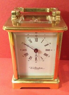 WELLINGTON Made In France11 JEWELS Brass Carriage Clock & Key : Working