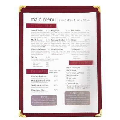 Olympia American Style Menu Holder in Burgundy A5 Size Shows Four Pages