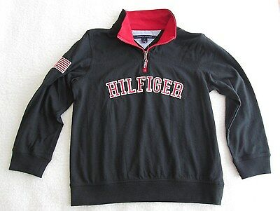 Tommy Hilfiger Little Boys' Quarter-Zip Varsity Black Pullover - Size 7 - NWT