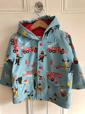 Hatley Fire Fighting Critters Design Hooded and Lined Classic Raincoat Size 2