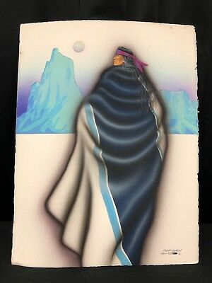 "Original Robert Redbird Sr. ""Twilight Dreams"" Kiowa Native American Indian Art"