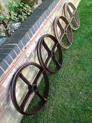 Vintage Cast Iron Wheel X 1 Shepherd Hut Large Architectural  Old Farmer Rollers