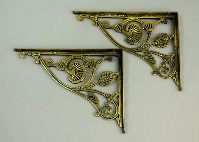 A Pair Of Antique Brass Wall Brackets Probably Christopher Dresser C.1880