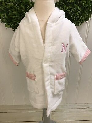 POTTERY BARN KIDS White Pink Soft Terry Baby Robe ~ Monogram N ~ 0-9 Months ~