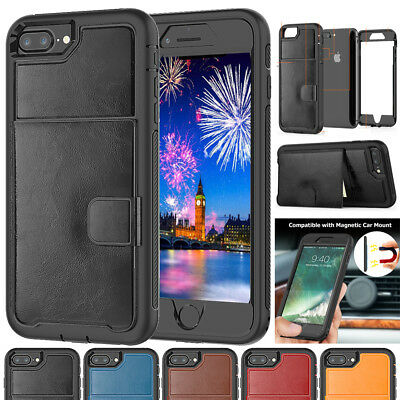 Shockproof Leather Card Holder Case for iPhone Xs Max/Xr 360° Hybrid Armor Cover