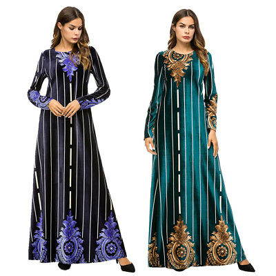 Fashion Women Muslim Maxi Dress Stripe Floral Printed O-neck Party Cocktail Gown