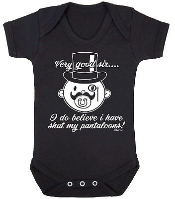 Ive Shat in my Pantaloons moustache funny Baby Vest by BWW Pri... Ah Good Sir