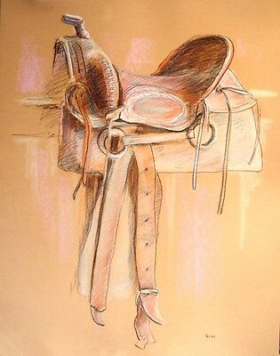 SADDLE, collectible fine art drawing, one-of-a-kind, signed and dated Helvey