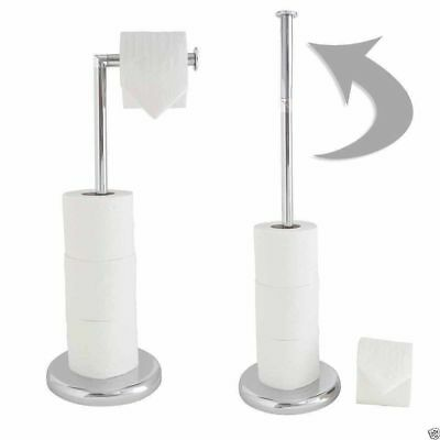 Stainless Steel Toilet Roll Holder Stand Swivel Free Standing Holds Extra Roll