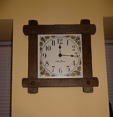 Vintage Seth Thomas Clock Country Pine Cottage Wall Battery Clock