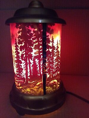 Vintage ECONOLITE CORP ROTO-VUE Forest Fire Motion Lamps Works GREAT!