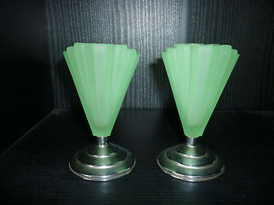 Pair Small Art Deco Bagley Grantham Green Frosted Uranium Glass vases