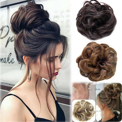 UK Curly Messy Bun Hair Piece Scrunchie Hair Extensions Real Natural as Human