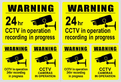 6 x Warning Stickers CCTV Video Camera Recording Home Shop Sign Safety Protected