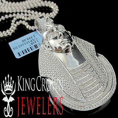 Diamond Egyptian Pharaoh King Tut Pendant 0.40 Ctw 10k White Gold Finish Charm