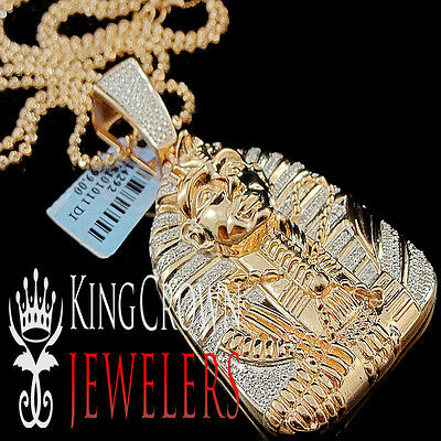 10K Rose Gold Finish Charm Real Diamond Egyptian Pharaoh King Tut Pendant .40Ct