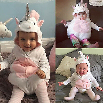 Newborn Baby Girls Unicorn Romper Jumpsuit Jumper Outfits Hooded Costume Clothes