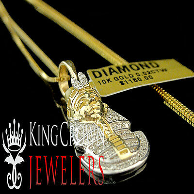 10K Yellow Gold Real Diamond King Tut Egyptian Pharaoh Mini Pendant Charm +Chain