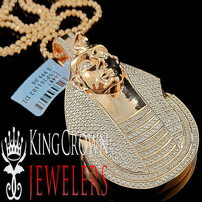 Diamond Egyptian Pharaoh King Tut Pendant 0.40 Ctw 10k Rose Gold Finish Charm