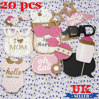 20pcs Baby Shower Photo Booth Props Little Girl New Born Party Decoration Game