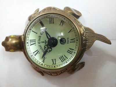 Antique Reenactment Brass Wall Clock In Hanging & Table Top Tortoise Shape Decor