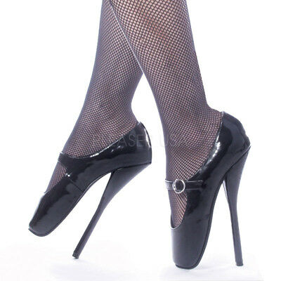 3890053153b DEVIOUS BALLET-08 SINGLE Soles Black Patent Ballet Shoes Sexy High Heels