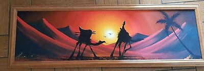 Original Egyptian canvas art signed by artist and framed in quality pine frame.
