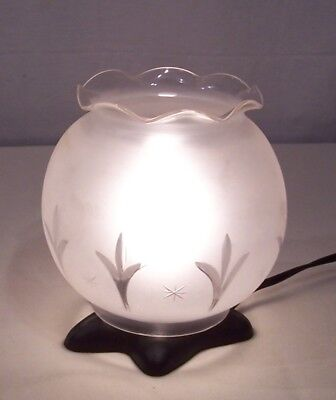 Antique Vtg Oil Kero Clear Frosted Cut Glass Star Leaf Design Two Shade # S-78