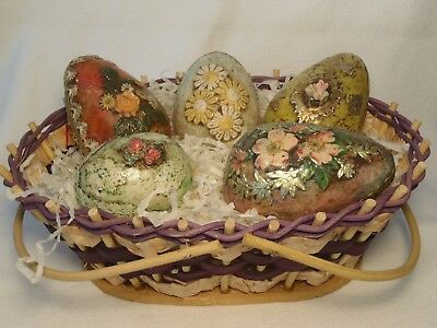 Vintage Easter Basket Wood & Braided Wicker Hand Made Victorian Decoupage Eggs