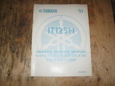 1981 Yamaha It 125 H  Owners Service Manual English/french  3R9-28199-72