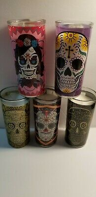 "DIA DE LOS MUERTOS~DAY OF THE DEAD~SET OF 5~5 1/2 in"" CANDLES"