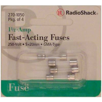 Fast-Acting 1-1/2-Amp 250 Volt GMA-Type Glass Fuses 5x20mm 1-1/2A 250V 4/PK