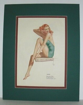 Vintage 1940's August calendar print Pin Up Girl by ALBERTO VARGA, matted
