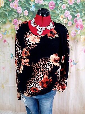 Womens plus size 20 very stylish mixed floral with beads jumper